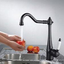 Black Kitchen Sink Faucet Oil Rubbed Bronze Ceramic Mixer Tap Swivel Water Tap