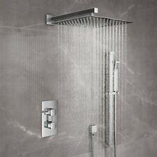 "Bathroom 12"" Head Conceal Thermostatic Square Shower Mixer Valve Set & Rail Kit"