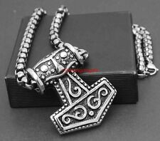 Viking Heavy Large Thor's Hammer Pendant Necklace Huge Chain and Huge Pandant