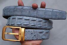 Without Jointed- Lightslategray Genuine Crocodile Leather Skin Men's Belt