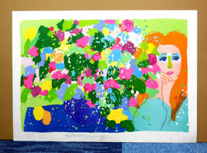 WALASSE TING FLOWER and WOMAN ORIGINAL LITHOGRAPH HAND SIGNED CHINESE ARTIST #2