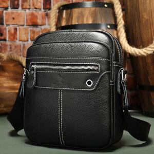 Genuine Leather Shoulder Messenger Bag for Men Business Pack Wallet Phone Purse