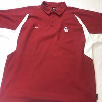 Nike Team Dri-Fit Oklahoma Sooners NCAA Golf Polo Shirt Men's 2XL XXL Boomer EUC