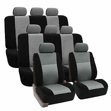 3D Airmesh Design 3 Row Gray Black 8Seater Auto Van Truck Seat Covers Full Set