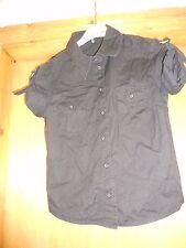 H&M black military style shirt 8 cotton short sleeves punk festival goth