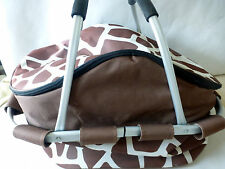 Sachi Giraffe Waterproof Insulated Picnic Lunch Basket Metal Handles Collapsible