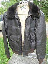L L Bean Leather Flight Jacket -  lambskin - Moulton Collar Bomber