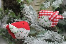 GISELA GRAHAM CHRISTMAS FABRIC HOLLY RED GINGHAM CLIP ON ROBIN DECORATION X 2