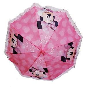 Disney Minnie Mouse Children's Kids Girls Umbrella Minnie Mouse Heart Handle