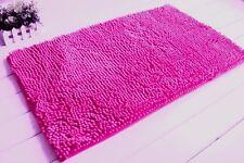 2 Piece High Pile Chenille Bath Mat and Small Mat Hot Pink