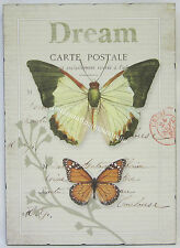 French Provincial Wall Print Wooden Decor Plaque Dream Carte Postale & Butterfly