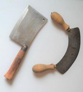 ancien hachoir & feuille de boucher couteau ustensile outils déco cuisine ...