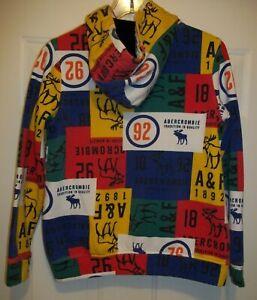 VTG ABERCROMBIE KIDS Colorblock Hoodie Sweatshirt Boys Girls Large (15-16) Rare