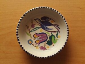 Vintage Hand Painted Poole Pottery Floral & Bird Round Trinket Pin Dish