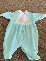 Vintage Little Me Sleep Play Green Footed Clouds Bears USA Small 0 -11 Pounds