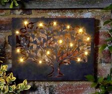 LARGE Vintage Antique Bronze Metal TREE Garden Wall Art 15 Solar Lights NEW BNIB