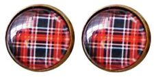 Red Plaid Earrings Korean Style Red Check Pattern Hipster Cool England Earrings