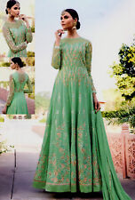MINTGRN HVY DESIGNER ANARKALI SALWAR KAMEEZ SUIT PARTY DRESS MATERIAL LADIES DEN
