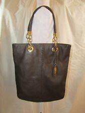 CYNTHIA ROWLEY Brown Leather Snakeskin Tote/Handbag with Goldtone Hardware