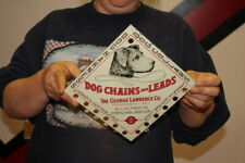 Vintage 1940's Dog Collars Leads & Chains Pet Farm Gas Oil Metal Sign