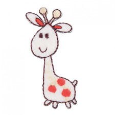 VAT Iron on Motif Patch Badge Craft Factory Baby Giraffe 2cm X 5.5cm