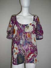 Now Brand Ladies Top Blouse Shirt Size 18 Magenta Flowers Short Sleeve Sheer NEW