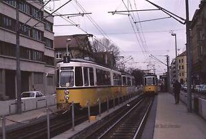 Stuttgart 408 on Line 1 & 542 on line 14 at Stöckach 1985 Orig Kodachrome Slide