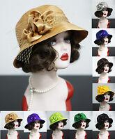 Womens Church Wedding Veils Satin Ribbon Tea Party Sun Cloche Bucket Hats A453