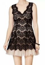 Betsy & Adam Evening Cocktail Lace Dress Fit & Flare Petite Black Beige 6 P NWOT