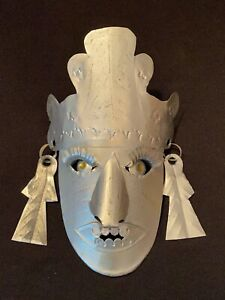 Vtg Small Taxco Mexican Folk Art Tin Tribal Mayan Chief Mask Primitive Tourist