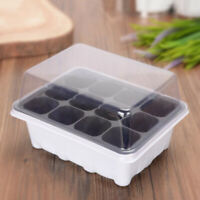 Gardening Supplies Plant Seedling Starter 12 Nursery Pots Trays Box With Dome