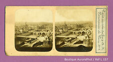 VUE STÉRÉO VIEW : PARIS 1855 , PONTS SUR LA SEINE, HÔTEL DE VILLE, PANORAMA-L157
