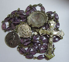 † UNIQUE ANTIQUE PURPLE AMETHYST ROSARY & 2 MEDALS GLASS JESUS & ST PEREGRINE  †