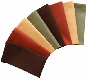 Natco Fall Cloth Napkins, Set of 8 in Warm Harvest Colors Brown, Green, Gold Rus