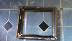 Wooden Black & Gold Ornate Picture Frame Early 1900's unrestored 12.5 x 10.5