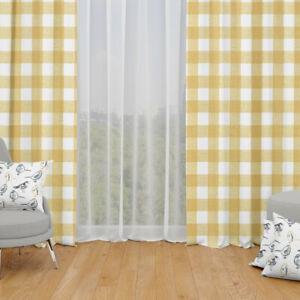 Carolina Linens Tab Top Curtains in Anderson Brazilian Yellow Buffalo Check