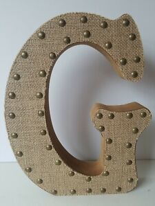 "Letter G Sign With Studded Burlap 11 5/8"" Tall 9"" Wide 1 3/4"" Thick"