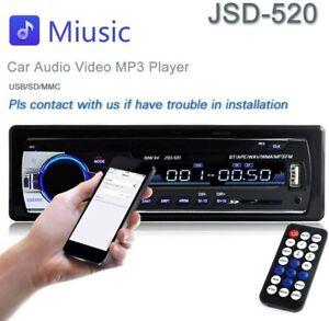 JSD-520 CAR FM/USB/SD/MP3 Player Receiver w Bluetooth 60Wx4 Output