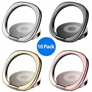 10x Finger Ring Cell Phone Holder Stand Metal Plate Rotating Magnetic Grip 360°