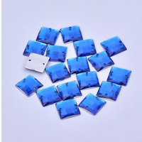 100 X Blue Square A GRADE sew On Jewel 10MM GEM CRYSTAL RHINESTONE trim Bead