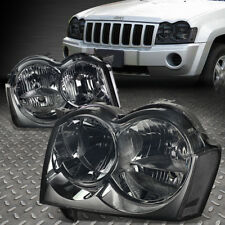 FOR 2005-2007 JEEP GRAND CHEROKEE SMOKED HOUSING CLEAR CORNER HEADLIGHT/LAMP SET