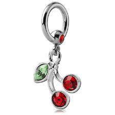 Piercing anneaux cerise Diamètre 1.6 mm Strass rouge claire