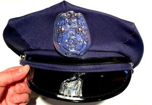 Bleu Marine Foncé US Police Officer Visor Hat avec insigne mélange laine Cop Hat