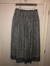 East John Lewis Fab India Long Hand Block Patterned Skirt Blue & Grey  Cotton