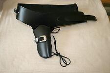 Western Funda De Cuero Negro Plataforma de arma y cinturón de tamaño grande