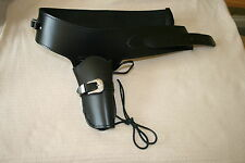 Western Black Leather Gun Rig Holster & Belt Size Medium