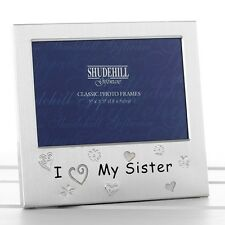 I Love My Sister Satin silver photo frame-shudehill Giftware
