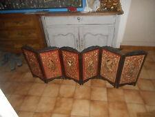PARAVENT ANCIEN DE TABLE A 6 PANNEAUX DECOR CHINE EN SOIE BRODEE SOIE