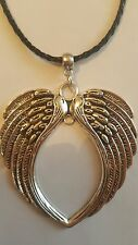 VINTAGE ANGEL WING TIBETAN SILVER PENDANT ON BLACK  BRAIDED LEATHER NECKLACE.