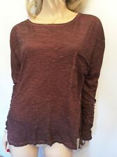 Twisted Muse Sz Small 10 12 14 Maroon Oversized TOP 'Florence' Long Sleeved
